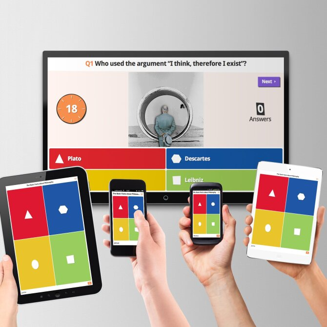 This photo shows the Kahoot! interface on tv, smartphone and tablet.