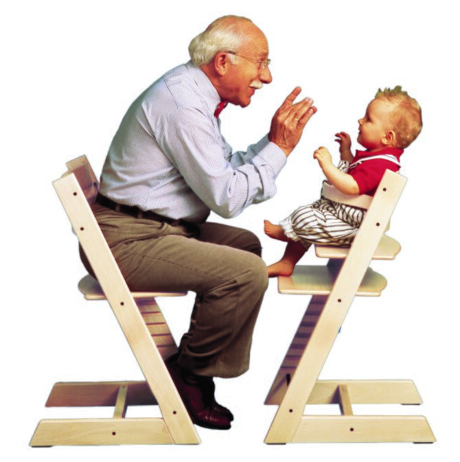 This photo shows the chair used by an older man and a very young child