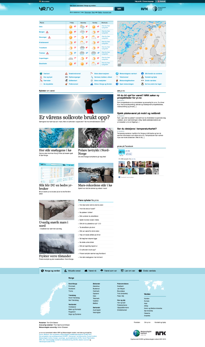 Layout of the web page yr.no