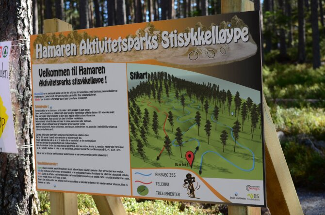 Welcome sign to Hamaren including a map over the bicycling path